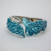 Lladro hand-crafted sterling silver and porcelain cuff bracelet